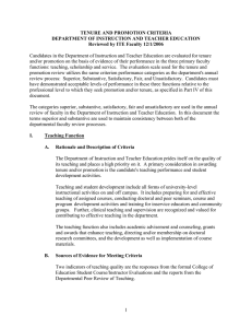 TENURE AND PROMOTION CRITERIA DEPARTMENT OF INSTRUCTION AND TEACHER EDUCATION