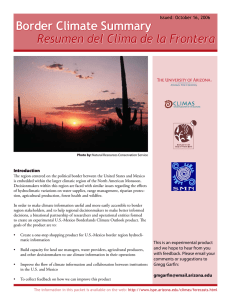 Border Climate Summary Resumen del Clima de la Frontera Introduction