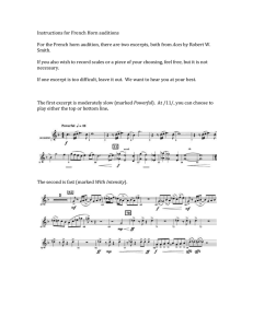 Instructions for French Horn auditions  Aces Smith.