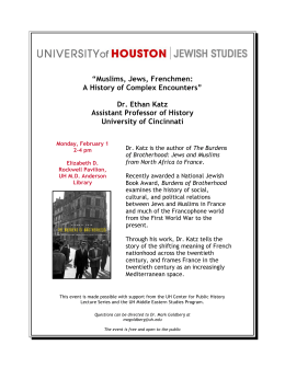 """Muslims, Jews, Frenchmen: A History of Complex Encounters"" Dr. Ethan Katz"
