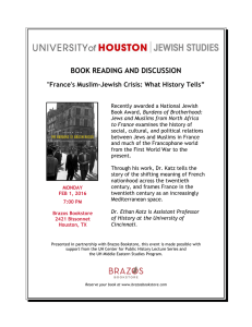 "BOOK READING AND DISCUSSION  ""France's Muslim-Jewish Crisis: What History Tells"""