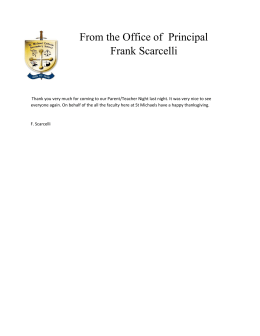 From the Office of  Principal Frank Scarcelli