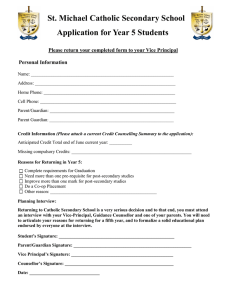 St. Michael Catholic Secondary School Application for Year 5 Students Personal Information