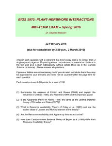 BIOS 5970: PLANT-HERBIVORE INTERACTIONS – Spring 2016 MID-TERM EXAM