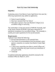 Park City Lions Club Scholarship Eligibility: