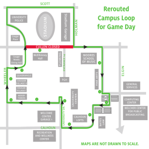 Rerouted Campus Loop for Game Day ADIUM