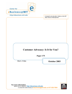 Customer Advocacy: Is It for You? October 2003  Paper 175