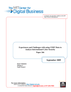 September 2009  Experiences and Challenges with using CERT Data to