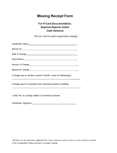 Missing Receipt Form  For P-Card Documentation, Expense Reports and/or