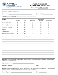 STUDENT  EMPLOYEE PERFORMANCE  EVALUATION  _________________________________________