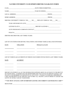 XAVIER UNIVERSITY CLUB SPORTS DRIVER CLEARANCE FORM