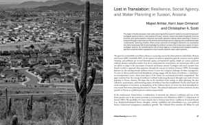 Lost in Translation: Resilience, Social Agency, and Water Planning in Tucson, Arizona