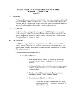 BYLAWS OF THE STUDENT FEES ADVISORY COMMITTEE UNIVERSITY OF HOUSTON  March 2014
