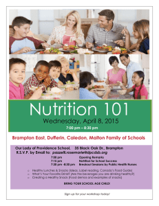 Nutrition 101 Wednesday, April 8, 2015