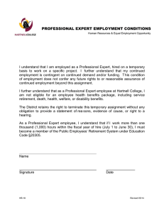 PROFESSIONAL EXPERT EMPLOYMENT CONDITIONS