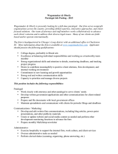 Wagenmaker & Oberly Paralegal Job Posting - 2015