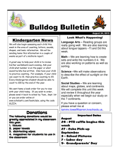 Bulldog Bulletin  Kindergarten News