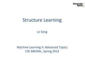 Structure Learning  Le Song Machine Learning II: Advanced Topics