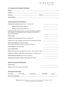 U.S. Financial Aid Estimate Worksheet Student: Address: