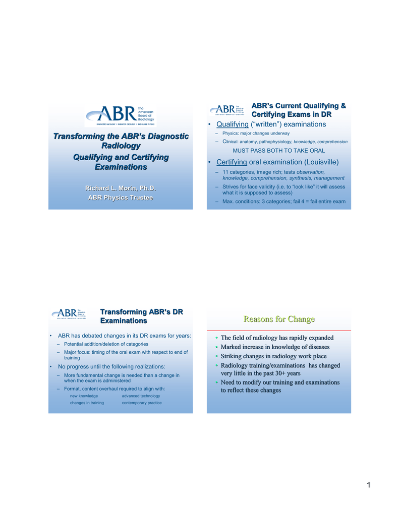 Transforming the ABR ' s