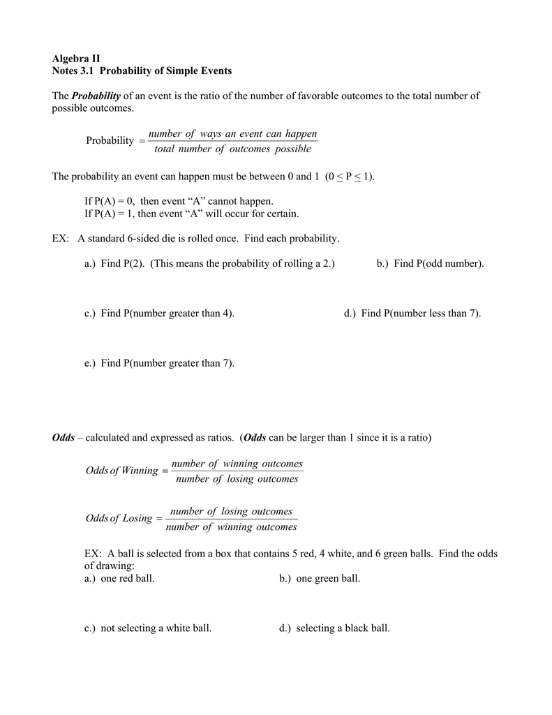 Algebra II Notes 3 1 Probability of Simple Events Probability
