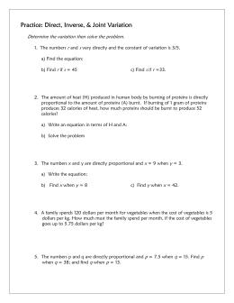 12-5 through 12-7 Variation Worksheet w/Answers