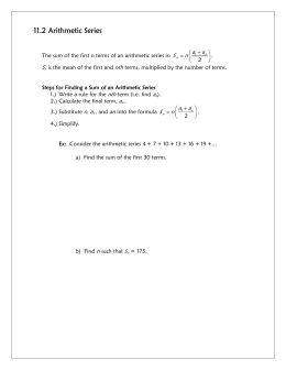 11.2 Arithmetic Series S nth