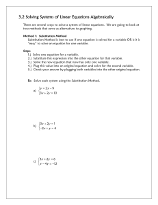 3.2 3.2 Solving Systems of Linear Equations Algebraically