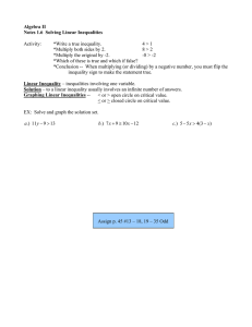 Algebra II Notes 1.6  Solving Linear Inequalities  Activity: