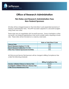 Office of Research Administration F&A Rates and Research Administration Fees Non-Federal Sponsors