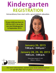 Kindergarten  REGISTRATION January 26, 2015