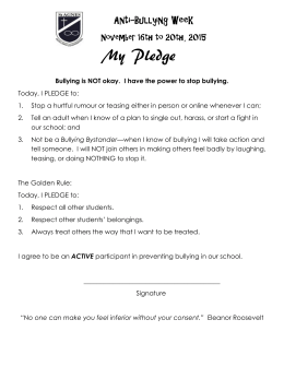 My Pledge Anti-Bullying Week November 16th to 20th, 2015