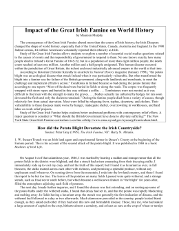 Impact of the Great Irish Famine on World History