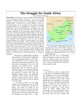 The Struggle for South Africa  by Lerole David Mametja