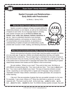Spatial Concepts and Relationships – Early Skills with Preschoolers Super Duper Handy Handouts!