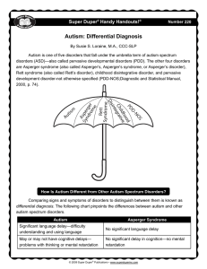Autism: Differential Diagnosis Super Duper Handy Handouts!