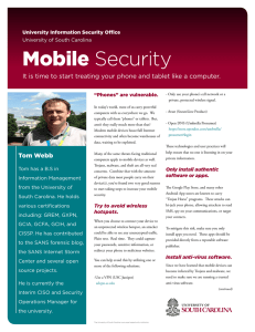 Mobile Security University Information Security Office University of South Carolina