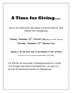 A Time for Giving….