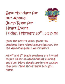 Save the date for our Annual Jump Rope for Heart Event