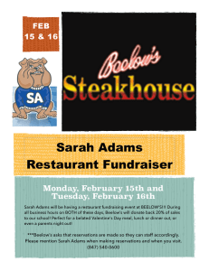 Sarah Adams Restaurant Fundraiser ! Monday, February 15th and