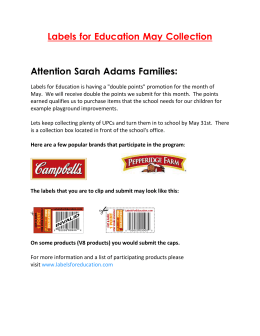 Labels for Education May Collection  Attention Sarah Adams Families: