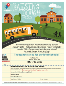By mentioning Sarah Adams Elementary School – February 2nd Domino's Pizza