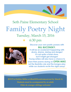 Family Poetry Night * Seth Paine Elementary School Tuesday, March 15, 2016