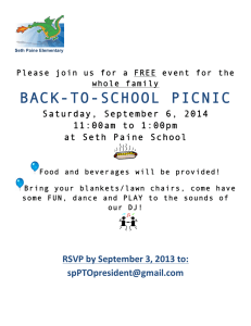 BACK-TO-SCHOOL PICNIC  Saturday, September 6, 2014 11:00am to 1:00pm
