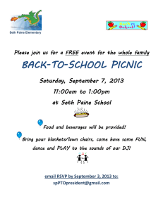 BACK-TO-SCHOOL PICNIC  Saturday, September 7, 2013 11:00am to 1:00pm