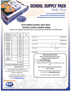 SETH PAINE SCHOOL 2013-2014 SCHOOL SUPPLY ORDER FORM