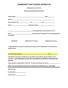 COMMUNITY UNIT SCHOOL DISTRICT 95 Participation Fee Form for Elementary Band/Orchestra/Chorus