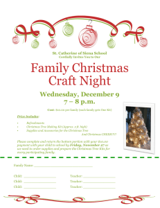 Family Christmas Craft Night Wednesday, December 9 7 – 8 p.m.