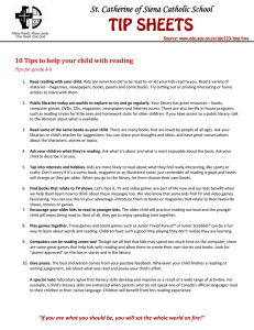 TIP SHEETS St. Catherine of Siena Catholic School  10	Tips	to	help	your	child	with	reading