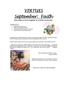 VIRTUES September:  Faith